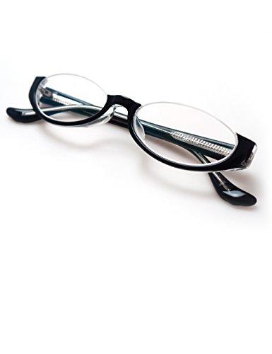 Komehachi - Unique Design Women Half Under Rimmed Reading Prescription Eyeglasses Frame with Clear Lenses - Rim Under Glasses