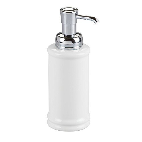 InterDesign Hamilton Glass Soap & Lotion Dispenser Pump for Kitchen or Bathroom Countertops, White/Chrome