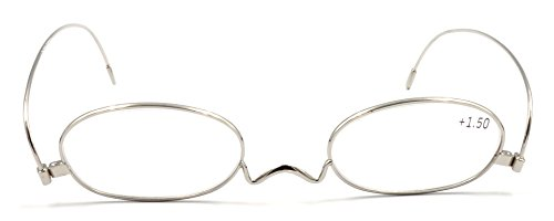 Amillet Vintage Thin Metal Silver Oval Reading Glasses for Men and Women ()