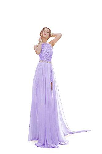 Wedding Dress Beach Bridal Dresses Lace Wedding Gown A Line Bride Dress(Purple,10)