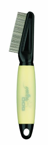Conair Yellow Dog Flea Comb with Memory Gel Grip, Dog Home Grooming, Yellow
