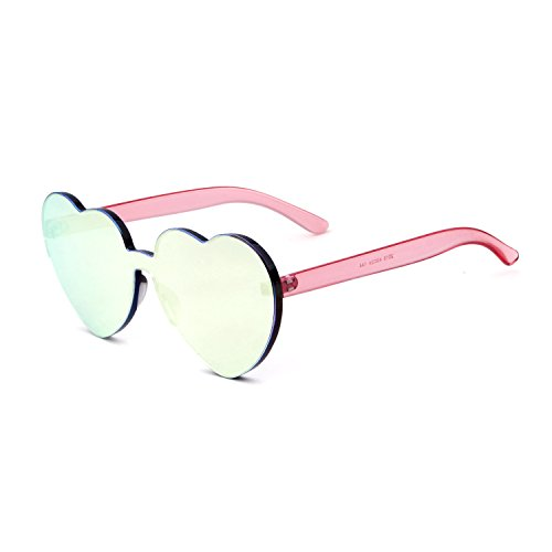 Heart Shape Rimless Sunglasses One Piece Transparent Candy Color Eyewear (Barbie Pink, - Shaped Sunglasses