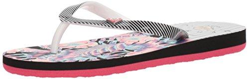 Roxy Girls' RG Pebbles V 3 Point Flip-Flop, White/Black/Flower, 2 M US Little Kid