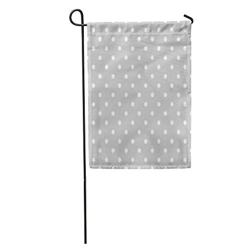 Semtomn Garden Flag Abstract Pattern White Polka Dots on Grey Baby Color Dark Home Yard House Decor Barnner Outdoor Stand 28x40 Inches Flag]()