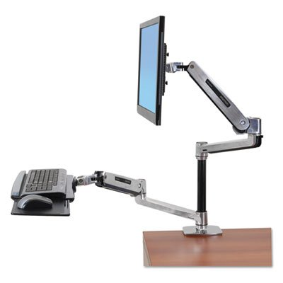 WorkFit-LX Sit-Stand Workstation Mount System, Polished Aluminum, Sold as 1 Each by Generic