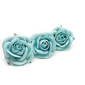 "2"" Blue Paper Flowers Paper Rose Artificial Flowers Fake Flowers Artificial Roses Paper Craft Flowers Paper Rose Flower Mulberry Paper Flowers 10 Pieces 72"