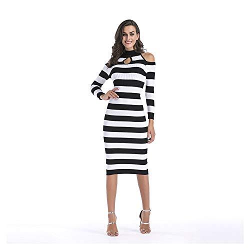 Slim Shopping Go Temperamento White Autunno E Easy A Femminile And Inverno Righe Maglia In Maniche Black Lunghe qAT5wdcx5E