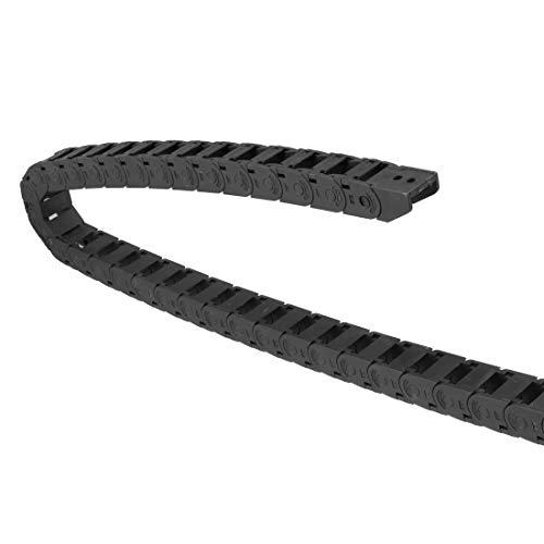 uxcell Drag Chain Cable Carrier Open Type with End Connectors R28 15X15mm 1 Meter Plastic for Electrical CNC Router Machines