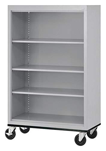 - 36' x 18' x 58' Elite Series Mobile Bookcase with 4 Shelves, Dove Gray