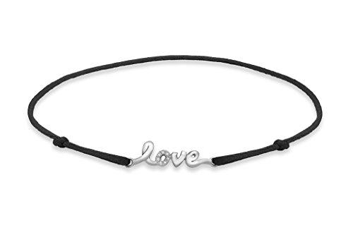 """Or blanc 9carats Diamant 'Love' sur bracelet en soie noire réglable 14cm/5,5"""""""