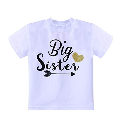WINZIK Little Baby Girls Kids Toddlers Outfits Big Sister Print T-Shirt Pullover Tee Tops Clothes Costume Gift