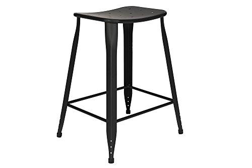 Backless Stool Black (Novogratz Nara Backless Counter Stool with Sturdy Metal Legs, Set of 2, Black)