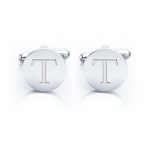 Designer Gold Plated Cufflinks - Iron & Oak Men's 18K White Gold-Plated Engraved Initial Cufflinks with Gift Box– Premium Quality Personalized Alphabet Letter (T - White Gold)