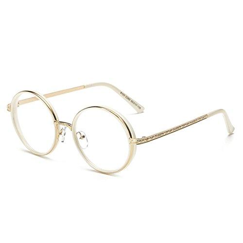 D.King Round Hipster Round Glasses Clear Lens Full Frame Eyeglasses for Men and Women - Hipster Glasses White