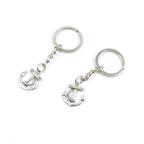 100 Pieces Keychain Keyring Door Car Key Chain Ring Tag Charms Bulk Supply Jewelry Making Clasp Findings J2CB3V Boat -