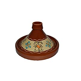 Moroccan Simple Small Cooking Tagine Lead Free Terracotta Cookware Pot Baker 6 Measurement: 8.5 inches wide (at base) Cook Chicken, Meat, Seafood or Vegeterian food Ideal for cooking on top of any kind of stove