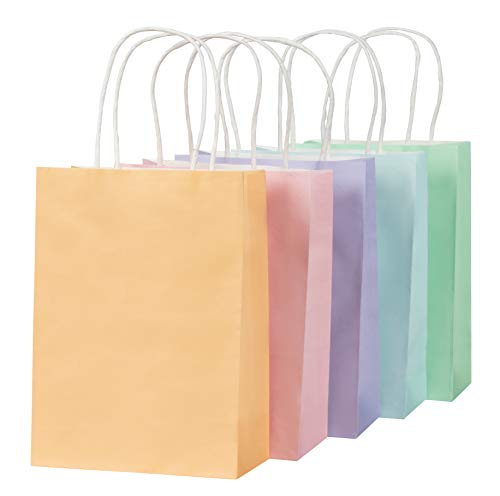 Pastel Gift Bags - 25-Pack Small Paper Bags with Handles, 5 Assorted Colors Orange, Pink, Purple, Blue, Green, Bulk Gift Wrapping Supplies, Easter Egg Hunts, Party Favors, 6.2 x 8.5 x 3.1 Inches]()