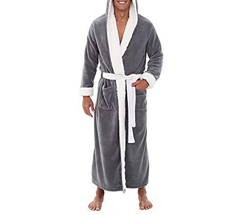 Accappatoio Uomo Per La Casa Peluche Vestaglia Allungato Confortevole Lunghe Maniche Abbigliamento In Con Invernale Plus Da Gray qdIwnp