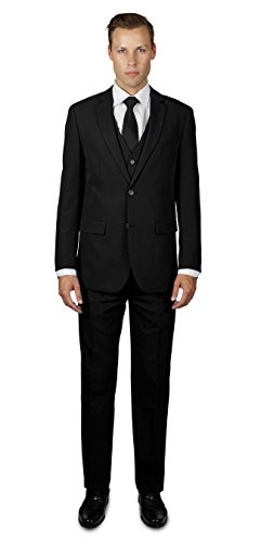 Three Suit Four Button Button - Alain Dupetit Men's Three Piece TR Blend Suit 40L Black