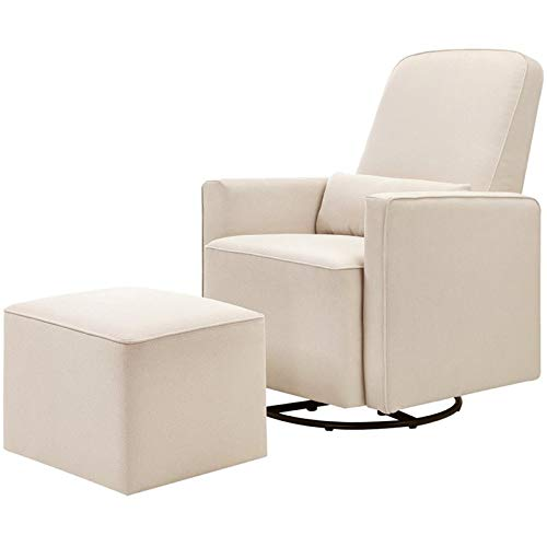 DaVinci Olive Upholstered Swivel Glider with Bonus Ottoman, Cream