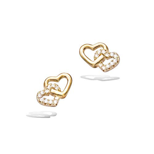 - Agvana Gold Filled Cubic Zirconia Love Heart Cute Small Stud Earrings Fashion Jewelry Gifts for Women Girls, Size 0.4