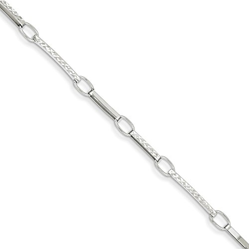 - 14k White Gold Textured Link Bracelet 7.25 Inch Chain Fancy Fine Jewelry Gifts For Women For Her