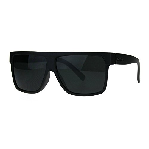 Kush Pot Logo Large Squared Flat Top Mobster All Black Gangster Sunglasses Matte - Sunglasses Kush