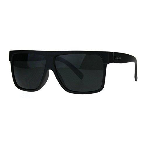 Kush Pot Logo Large Squared Flat Top Mobster All Black Gangster Sunglasses Matte - Mobster Glasses