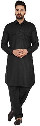 SKAVIJ Men's Tunic Cotton Traditional Indian Pathani Kurta Pajama