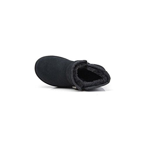 Short tube snow boots Winter warm flat Padded cotton shoes BLACK-37 nnDby