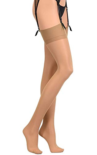 - Veneziana Thigh High Stockings for Garter and Suspender Belts Sheer (Tan, X-Large)