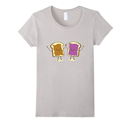 Womens Funny PB & J Sandwich Peanut Butter And Jelly Cute Jam Medium Silver Pb Sandwiches