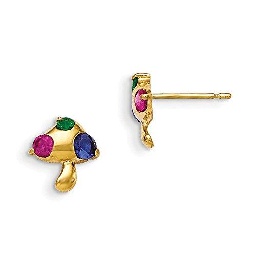 14K Madi K Multicolor CZ Childrens Mushroom Earrings