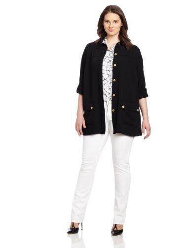 UPC 008884257480, Jones New York Women's Plus-Size Roll Sleeve Jacket with Button Details, Black, 16