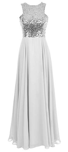 Gown Women Sequin Bridesmaid white Evening Long Silver Chiffon Dress Party Macloth Wedding zxZUASAq