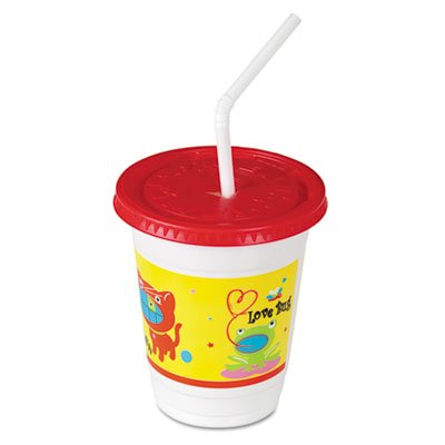 Plastic Kids' Cups with Lids/Straws in Critter Print