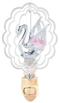 Swan In Scalloped Oval Night Light….. With Pink Swarovski Austrian Crystals For Sale