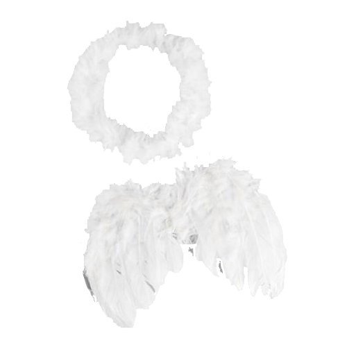 0-6 mo Angel Feather Wings Baby Cupid Props Free Halo - 1