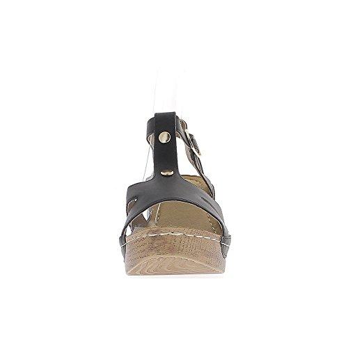 Tacón de 7cm de sandalias de cuña negro y espesor 3cm tacón de madera