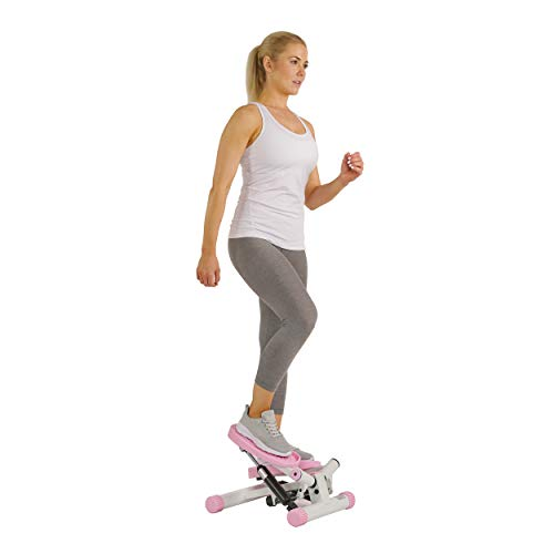 Sunny Health and Fitness Adjustable Mini Stair Stepper Exercise Equipment Step Machine with Twisting Action, Pink