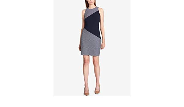 8d5bf2e241 Tommy Hilfiger  129 Womens New 1063 Navy Color Block Striped Sheath Dress  18 B+B at Amazon Women s Clothing store