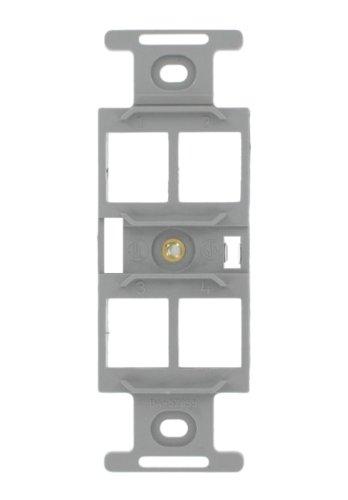 Leviton 41087-QGP QuickPort Duplex Type 106 Insert, 4-Port, Grey