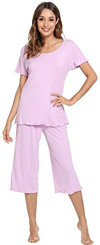 WiWi Pajama Set for Women Short Sleeve Top & Capri Pants Sleepwear Comfy Loungewear S-XXXXL(4XL), Light Purple, 2X-Large