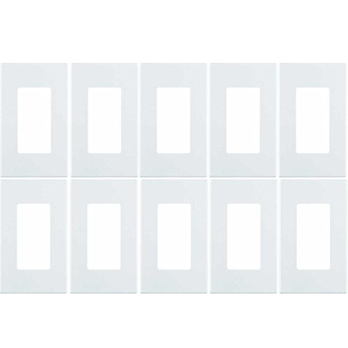 Leviton 80301-SW 1-Gang Decora Plus Wallplate Screwless Snap-On Mount (10 Pack, White) ()