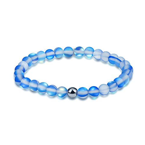 (Townshine 6mm Round Moonstone Beaded Bracelet Stretch Mermaid Glass Bracelet for Women Girls,Couples Beaded Glass Bracelet (Blue))