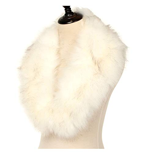 La Carrie Women's Faux Fur Collar Scarf Wrap Cold Winter Warmer(White)