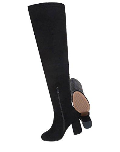 Damen Schuhe Stiefel Overknee Schwarz Moderne rrgqw4C