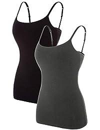 a021fc70f0 Womens Cotton Camisole Shelf Bra Cami Tank Top Strechy Undershirts 2 Pack