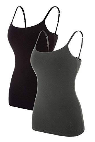 CharmLeaks Womens Camisole with Shelf Bra Tank Tops Adjustable Strap cami Black Undershirt