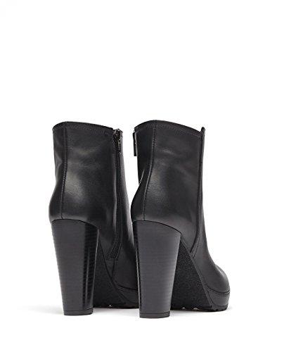 PoiLei Sam - Damen-Schuhe / klassische High-Heel Stiefeletten aus Echt-Leder - Ankle-Boot mit Block-Absatz und Profil-Sohle - schwarz